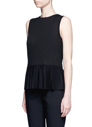 Front View - Click To Enlarge - Theory - 'Elvnee' plissé pleat peplum jersey top
