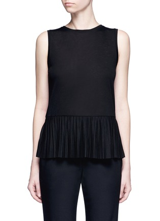 Main View - Click To Enlarge - Theory - 'Elvnee' plissé pleat peplum jersey top