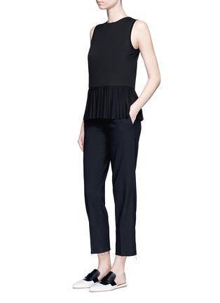 Figure View - Click To Enlarge - Theory - 'Elvnee' plissé pleat peplum jersey top