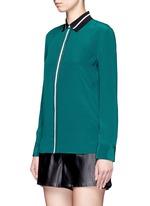 'Nico' contrast ribbon trim silk shirt