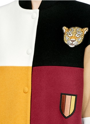 Detail View - Click To Enlarge - Stella McCartney - 'Sabine' embroidered badge colourblock varsity jacket