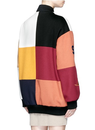 Back View - Click To Enlarge - Stella McCartney - 'Sabine' embroidered badge colourblock varsity jacket