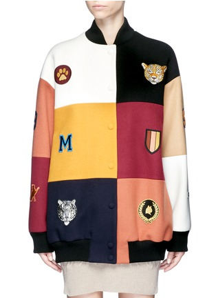 Main View - Click To Enlarge - Stella McCartney - 'Sabine' embroidered badge colourblock varsity jacket