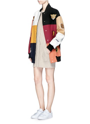 Figure View - Click To Enlarge - Stella McCartney - 'Sabine' embroidered badge colourblock varsity jacket