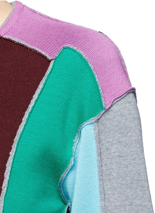 Detail View - Click To Enlarge - Ports 1961 - Split colourbock patchwork knit sweater