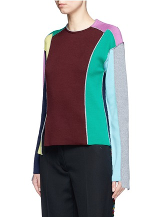 Front View - Click To Enlarge - Ports 1961 - Split colourbock patchwork knit sweater