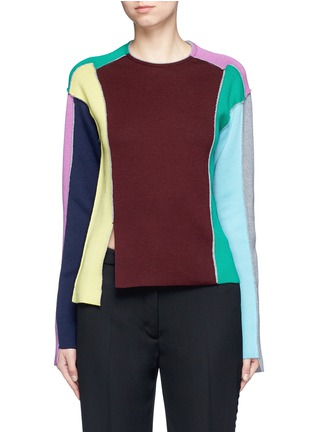 Main View - Click To Enlarge - Ports 1961 - Split colourbock patchwork knit sweater