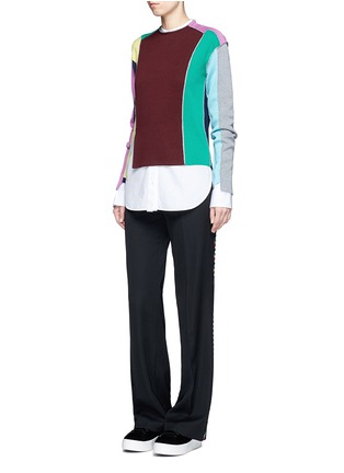 Figure View - Click To Enlarge - Ports 1961 - Split colourbock patchwork knit sweater