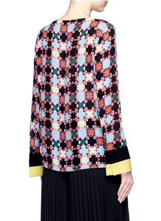 Emilio Pucci-Stripe cuff Monreale check star print georgette top