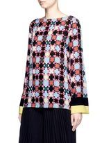 Stripe cuff Monreale check star print georgette top