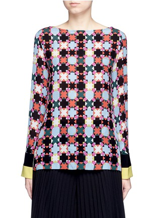 Main View - Click To Enlarge - Emilio Pucci - Stripe cuff Monreale check star print georgette top