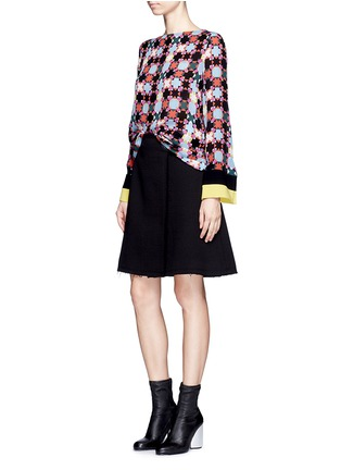 Figure View - Click To Enlarge - Emilio Pucci - Stripe cuff Monreale check star print georgette top