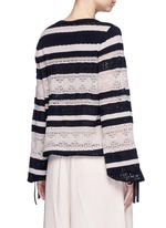 Drawstring waist stripe crochet knit sweater