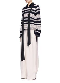 ChloéDrawstring waist stripe crochet knit sweater