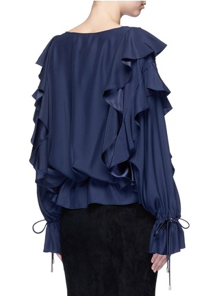 Back View - Click To Enlarge - Lanvin - Drawstring waist ruffle silk top