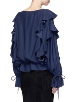 Drawstring waist ruffle silk top