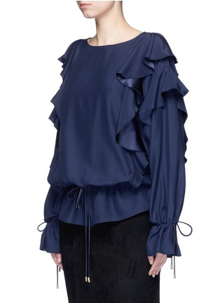 Front View - Click To Enlarge - Lanvin - Drawstring waist ruffle silk top