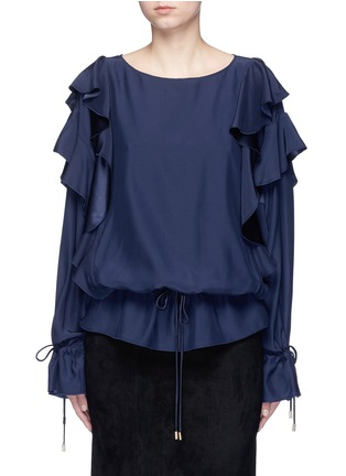 Main View - Click To Enlarge - Lanvin - Drawstring waist ruffle silk top