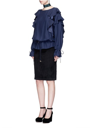 Figure View - Click To Enlarge - Lanvin - Drawstring waist ruffle silk top