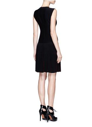 背面 - 点击放大 - ALAÏA - Seguidille拼色百褶混羊毛连衣裙