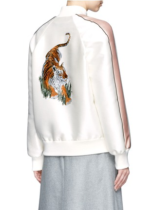 Back View - Click To Enlarge - Stella McCartney - Tiger embroidery duchesse satin bomber jacket