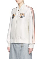 Tiger embroidery duchesse satin bomber jacket