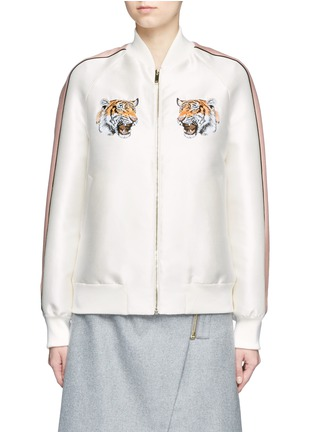Main View - Click To Enlarge - Stella McCartney - Tiger embroidery duchesse satin bomber jacket