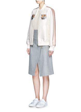 Figure View - Click To Enlarge - Stella McCartney - Tiger embroidery duchesse satin bomber jacket