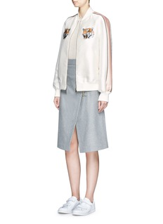 STELLA MCCARTNEY Tiger embroidery duchesse satin bomber jacket