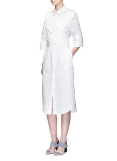 C/Meo Collective  'I'm In It' wrap waist cotton shirt dress