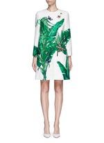 Embellished banana leaf print brocade coat