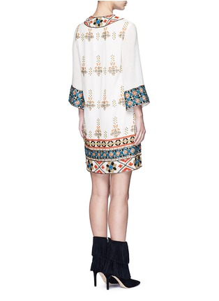 Back View - Click To Enlarge - alice + olivia - 'Ray' embellished embroidery V-neck dress