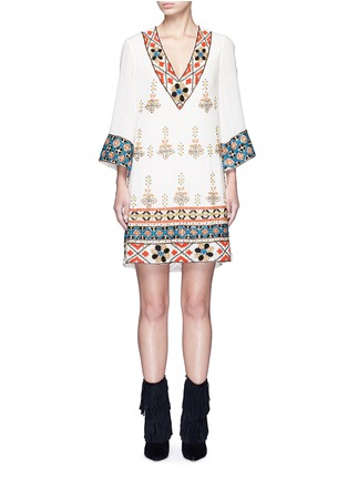 Main View - Click To Enlarge - alice + olivia - 'Ray' embellished embroidery V-neck dress