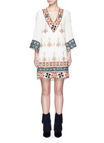 'Ray' embellished embroidery V-neck dress