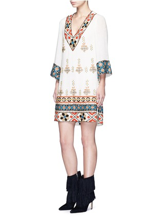 Figure View - Click To Enlarge - alice + olivia - 'Ray' embellished embroidery V-neck dress