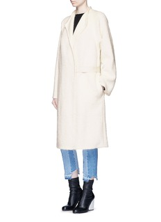 Helmut LangShaggy alpaca-virgin wool long coat