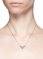 'Queen V PM' diamond 18k rose gold necklace