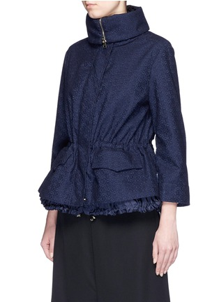 Front View - Click To Enlarge - Moncler - 'Paqueline' floral lace hooded jacket