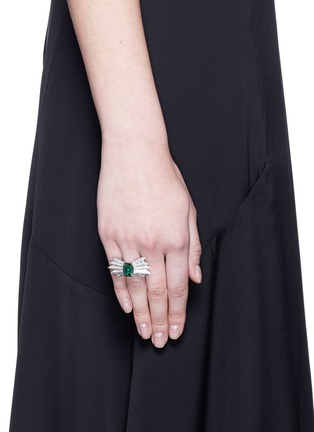 Figure View - Click To Enlarge - Melville Fine Jewellery - 'Northern Light II' diamond pavé tourmaline 18k white gold ring