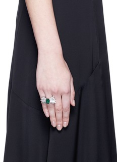Melville Fine Jewellery 'Northern Light II' diamond pavé tourmaline 18k white gold ring
