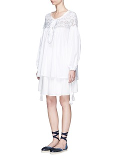 SEE BY CHLOÉFloral eyelet lace-up poplin tunic
