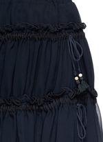Drawstring ruffle tier crepe skirt