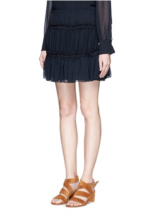 Front View - Click To Enlarge - See by Chloé - Drawstring ruffle tier crepe skirt