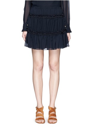 Main View - Click To Enlarge - See by Chloé - Drawstring ruffle tier crepe skirt