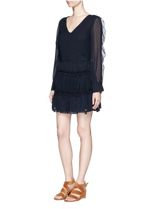 See by Chloé-Drawstring ruffle tier crepe skirt