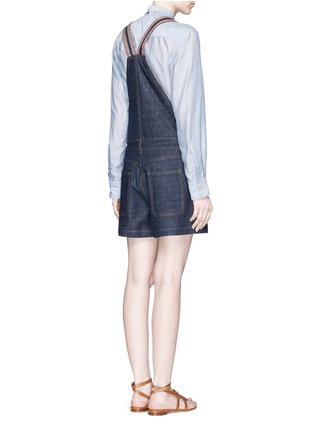 Back View - Click To Enlarge - See by Chloé - Stripe knit trim denim romper