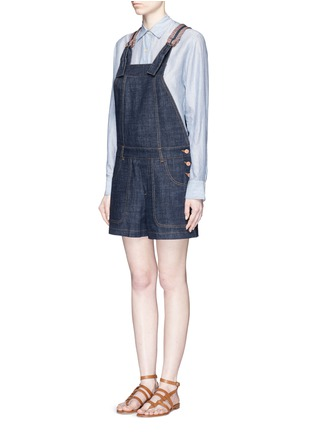 Front View - Click To Enlarge - See by Chloé - Stripe knit trim denim romper