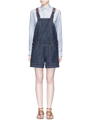 Main View - Click To Enlarge - See by Chloé - Stripe knit trim denim romper
