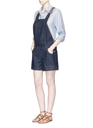 Figure View - Click To Enlarge - See by Chloé - Stripe knit trim denim romper