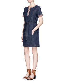 SEE BY CHLOÉStripe knit trim denim dress